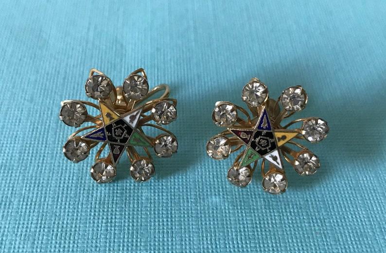 rhinestone Eastern Star earrings screw back earrings Vintage order of the Eastern Star earrings Eastern Star jewelry OES OES earrings