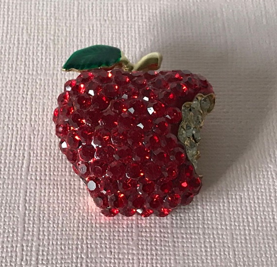 Vintage rhinestone apple pin, apple pin, the big a