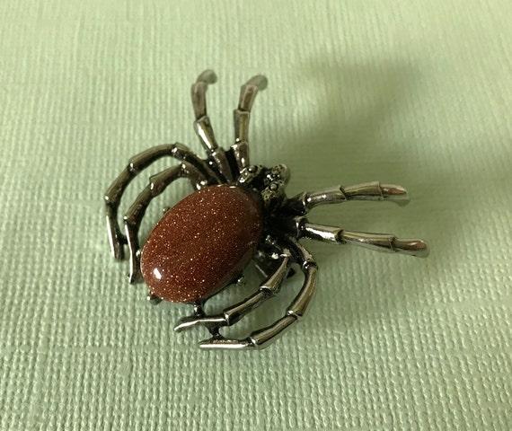 Gold sand stone spider brooch, rust spider brooch,