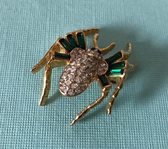 Vintage green rhinestone spider brooch, high end s