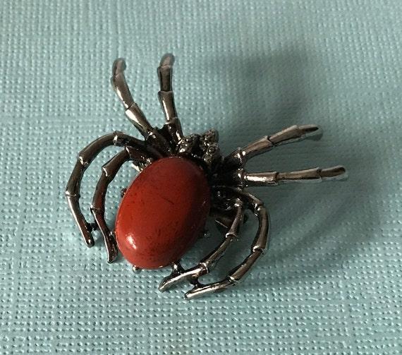 Jasper spider brooch, flame jasper spider pin, red
