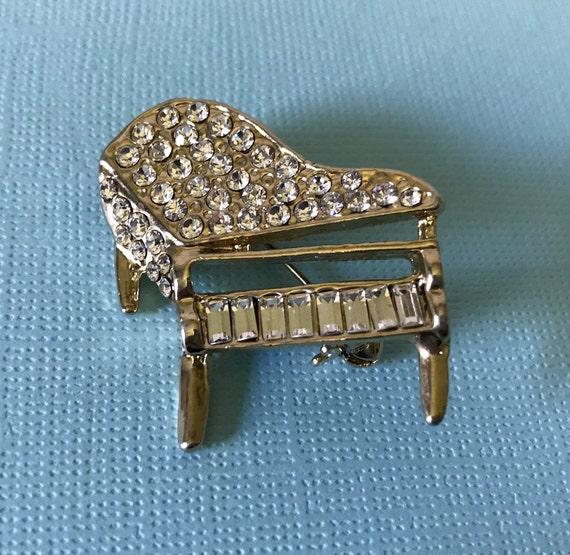 Vintage rhinestone piano pin, vintage piano brooch