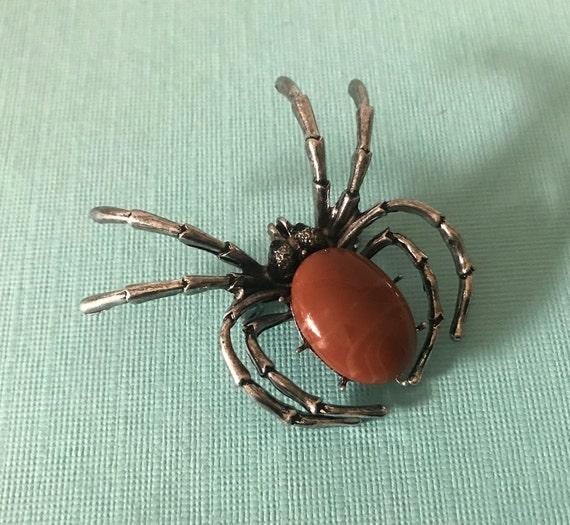 Brown spider pin, spider brooch, spider jewelry, b