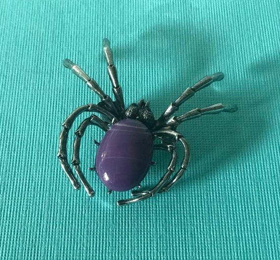 PUrple spider pin, spider pin, spider jewelry spid