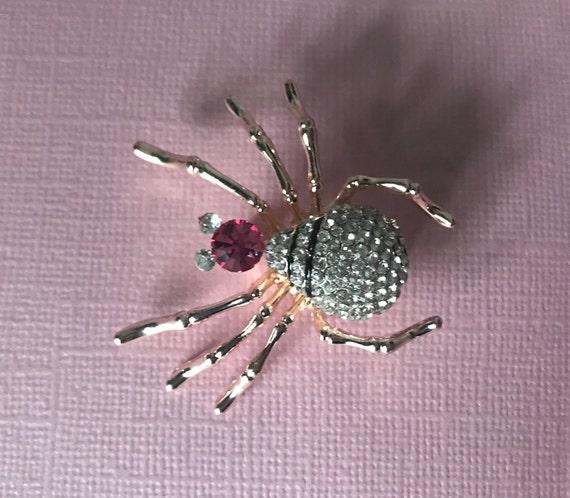 rhinestone spider pin, pink rhinestone spider broo