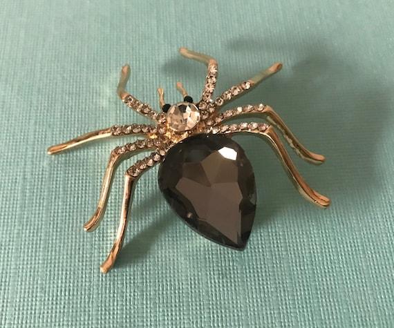 Rhinestone spider pin, black spider pin, gold spid