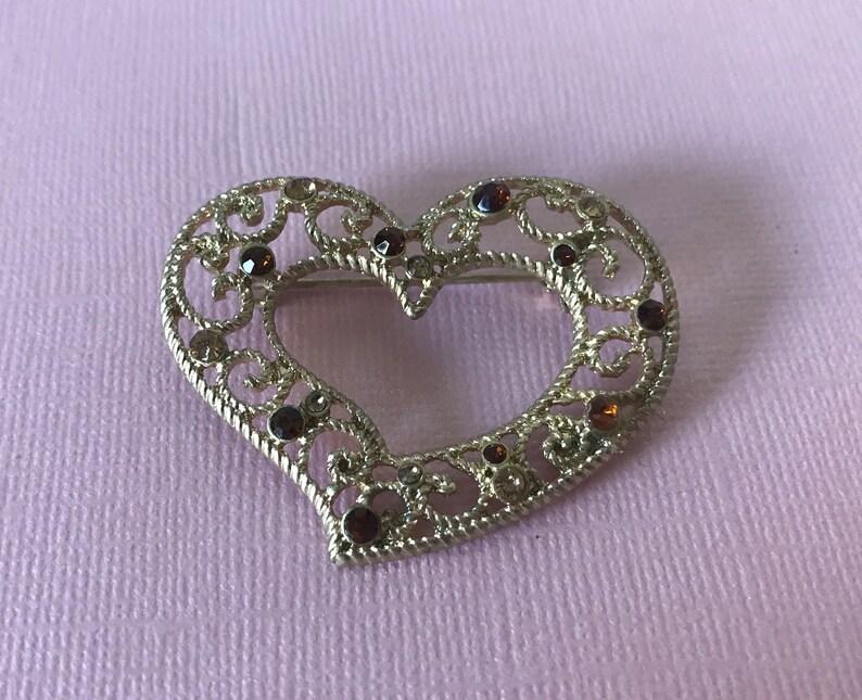 184f892c58d56 Vintage rhinestone heart pin Valentine's Day heart   Etsy