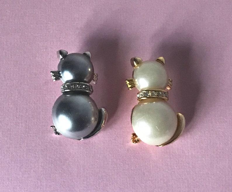 feline cats cat brooches kitty pins rhinestone cat pins Vintage cat pins set of two pins cat brooch lot white cat pin black cat pin