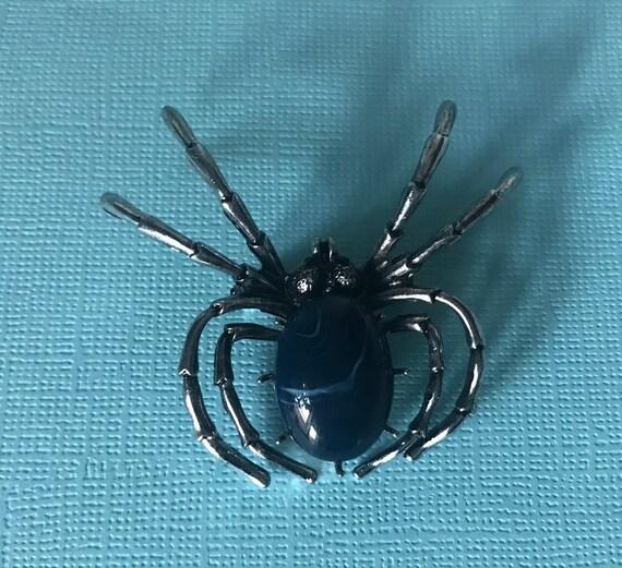Blue spider pin, cobalt blue spider pin, silver an