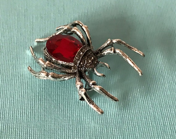 Red rhinestone spider brooch, jelly belly spider p