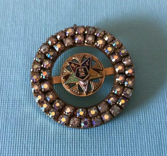 Eastern Star Sterling Enamel Brooch Pin Gold Vintage 925