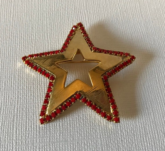 Vintage star brooch, red rhinestone star brooch, s