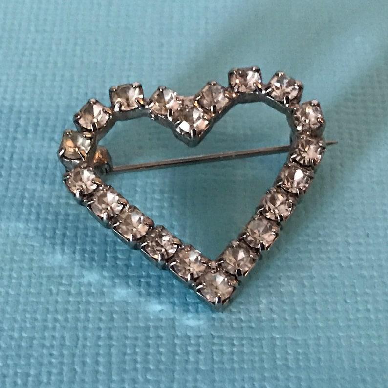 d81333eebe7cd Vintage rhinestone heart brooch heart pin rhinestone heart   Etsy