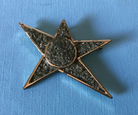 Vintage Jade star brooch, crushed stone brooch, st