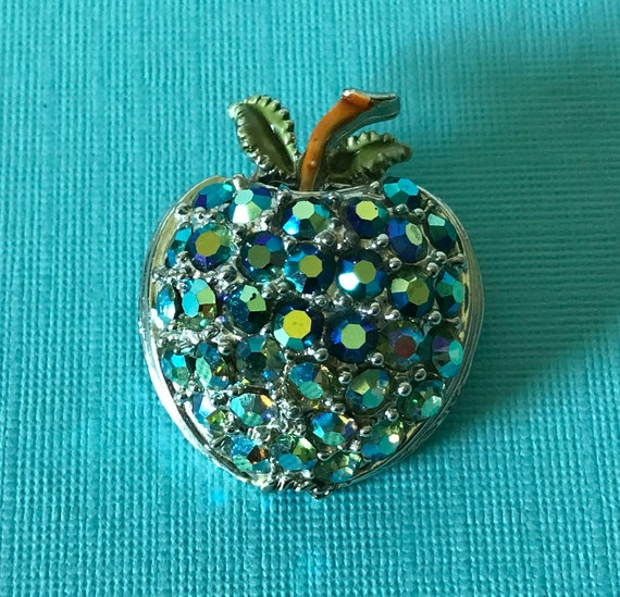 Vintage peacock rhinestone apple pin, blue rhinest