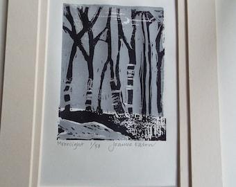 Moonlight     original lino print