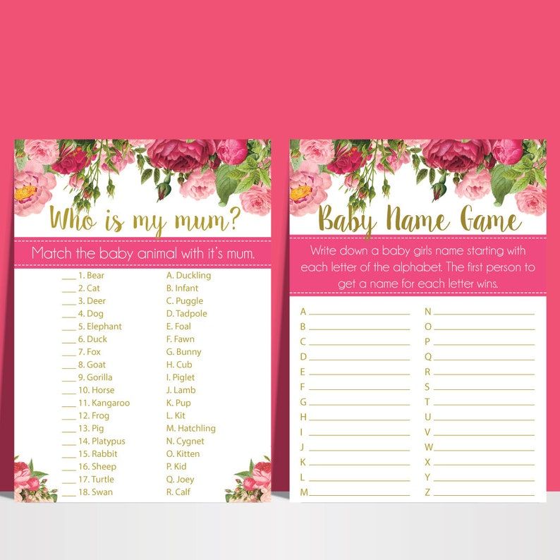 10 Baby Shower Games Pink And Gold Floral Digital Printable Files Emailed  PDF and JPEG Code 20239