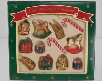 vintage enesco set of 12 mini christmas tree ornaments miniatures
