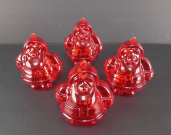 Lot of 4 Vintage 80s Hard Plastic Red Santa Claus Hollow Candy Containers Christmas Hanging Ornament Made in  Germany