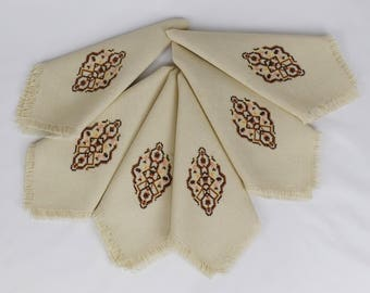 set of 6 Fringed Embroidered Table Napkins / Beige Geometric Design