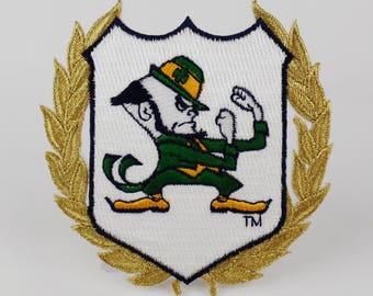 Vintage Notre Dame Fighting Irish Leprechaun 3.9 X 3.9 Embroidered Patch NCAA / Circa 1990 / College Team Pride