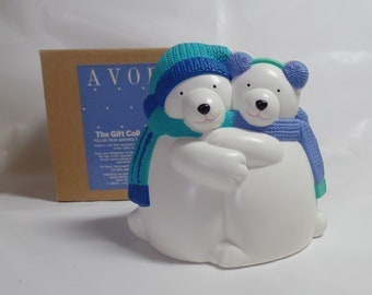 Avon Polar Pair Bear Baking Soda Holder Refrigerator Deodorizer Vintage New