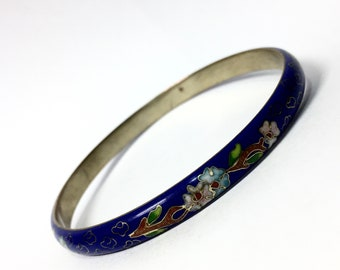 Blue,Green,Cream Small to Average Set of 4 Chinese Cloisonne Enamel Bangle Bracelets Red 1980s Classic Asian Flowered Jewelry