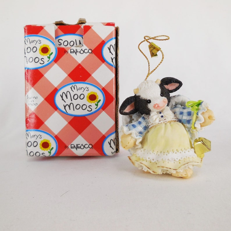Enesco 1994 Mary/'s Moo Moos Hanging Ornament Angel With Bell 651613