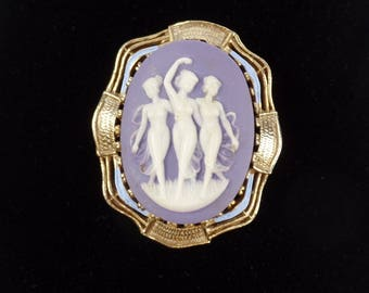 Vintage Cameo The Three Graces  Pin Brooch Purple Blue Enamel Dancing Ladies