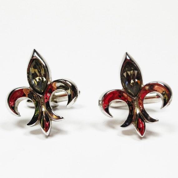 Fleur De Lis Cufflinks With Rhinestone Vintage Swank Silver Tone