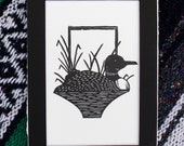 Loon New Hampshire Animal Nature themed Relief Printmaking Wall Art Gift