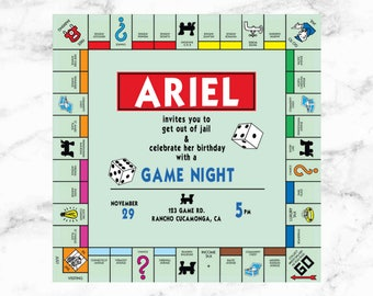 GAME NIGHT/ Board Game/ Birthday/ Invitation/ Monopoly/ Dice/ Game/ Teen