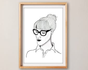 Sophisticated Print– Portrait Print – living room decor – Home decor – Home and Living – drawing – workspace decor – shop decor
