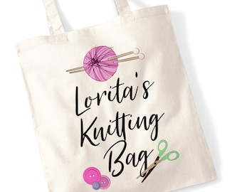 Custom Name Knitting Bag - Perfect present for a Crafty Grandma, Sister, Mother, Friend - Personalisable, Personalised Printed Tote Canvas