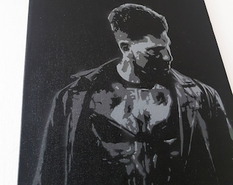 The Punisher, spray paint stencil on canvas, painting, marvel