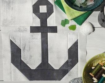 Nautical Anchor Quilt Block Instant Downloadable PDF Pattern, Nautical Quilt Pattern