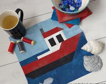Boat Quilt Pattern PDF Instant Download, Nautical Quilt Digital Pattern, Seaside Quilt