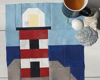 Lighthouse Quilt Block PDF Digital Pattern Instant Download, Nautical Quilt Pattern, Nautical Seaside Quilt