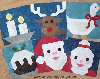 Christmas Six Piece Quilt Block Pattern Bundle, instant download PDF Quilt Blocks includes Santa, Mrs Claus, deer, candle, pudding and goose