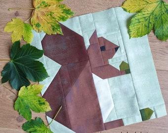 Squirrel Fall Digital Quilt Block Pattern, Fall Quilt Pattern, Autumn Quilt Block Pattern,  Animal Quilt, PDF Instant Download Quilt Pattern