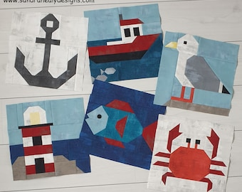 Nautical Quilt Six-Piece Pattern Bundle, Nautical Quilt Instant PDF Download, Seagull, Crab, Anchor, Boat, Fish and Lighthouse Quilt Blocks