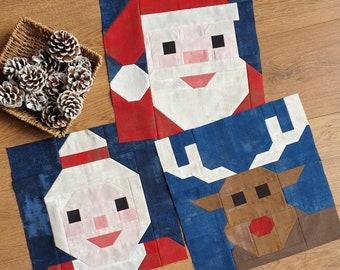 Christmas Characters 3 piece quilt block pattern bundle, Digital Download PDF Santa Reindeer Mrs Santa Claus quilt block, Christmas quilt