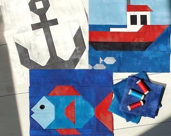 Nautical Quilt Three-Piece Pattern Bundle, Nautical Quilt Instant PDF Download, Anchor Quilt Block, Boat Quilt Block and Fish Quilt Block