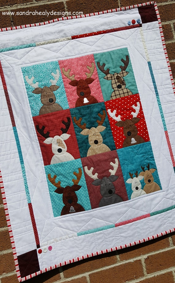 Christmas Quilt Pattern Pdf Easy Reindeer Applique Quilt Etsy