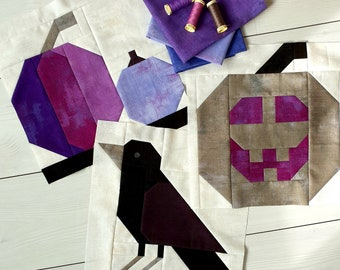 Halloween quilt block pattern bundles, Instant PDF download files, pumpkin quilt block, jack o'lantern quilt block, crow quilt block