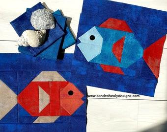 Fish Quilt Block, Nautical PDF Instant Download Digital Quilt Block Pattern, Nautical Quilt, Fish Quilt