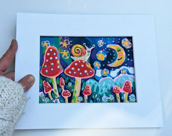 Original folk Art Painting of a snail on a mushroom with moon and stars