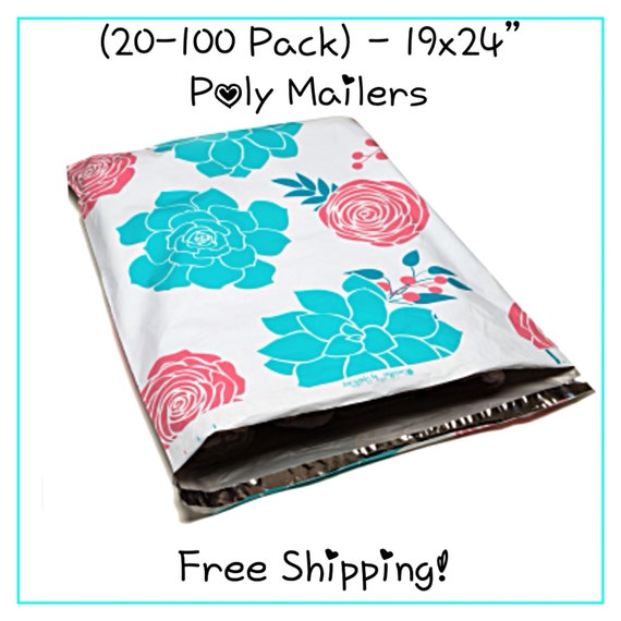 """5//10//15 Pack **FREE SHIPPING!* 19x24/"""" Succulent Flowers Designer Poly Mailers"""