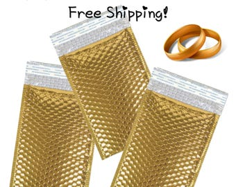 """FREE SHIPPING! (20 Pack) 6.5x10"""" Metallic Gold Bubble Mailers"""