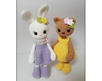 crochet pattern Amigurumi Bunny and Cat